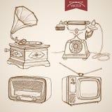 Engraving vintage hand drawn vector Gramophone Rad Royalty Free Stock Photo