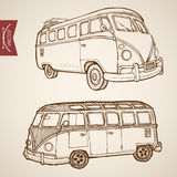 Engraving vintage hand drawn vector passenger bus Royalty Free Stock Images