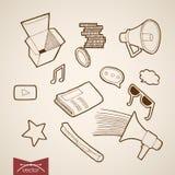 Engraving vintage hand drawn vector peaker sound c Royalty Free Stock Photos