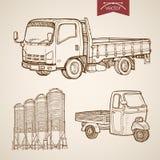 Engraving vintage hand drawn vector pickup silos c Royalty Free Stock Images