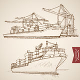 Engraving vintage hand drawn vector Ship cargo con. Engraving vintage hand drawn vector Ship deliver and unload cargo container collection. Pencil Sketch water royalty free illustration