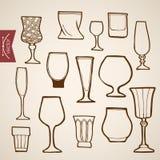 Engraving vintage hand drawn vector stemware Cogna. Engraving vintage hand drawn vector restaurant stemware collection. Pencil Sketch Cognac, wine, cocktail Royalty Free Stock Photos