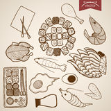 Engraving vintage hand drawn vector sushi meat egg Stock Photography