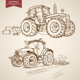 Engraving vintage hand drawn vector tractor Farm S Stock Images