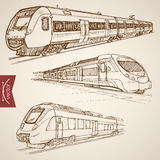 Engraving vintage hand drawn vector train transpor Royalty Free Stock Images