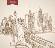 Engraving vintage hand drawn vector United States Stock Photo