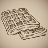 Engraving of waffles. Delicious morning meal in the style of the counter. Vector illustration. EPS 10 Royalty Free Stock Image