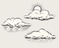 Engraving weather. Sun behind cloud, rain and Stock Photography