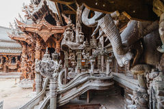 Engraving Wooden Sculptures in Sanctuary of The Truth at Pattaya. Chonburi Province, Thailand Stock Photos
