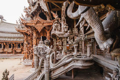 Engraving Wooden Sculptures in Sanctuary of The Truth at Pattaya. Chonburi Province, Thailand Royalty Free Stock Images