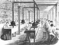 Finishing books at a printing company. Engraving of a workers in the finishing room at a printing company. From The Harper Establishment, by Jacob Abbott, 1855 Royalty Free Stock Photos