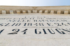 Engravings on commemorative monument Royalty Free Stock Image
