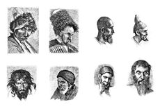 Engravings, illustrations of people of different nationalities. Royalty Free Stock Photo