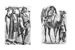 Engravings, illustrations of people of different nationalities. Stock Images