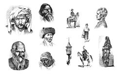 Engravings, illustrations of people of different nationalities. Stock Image