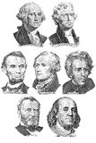 Engravings of portraits of seven presidents. With U.S. dollar bills stock photos