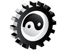 engrenagem 3d com ying e o yang para dentro Ilustração Royalty Free