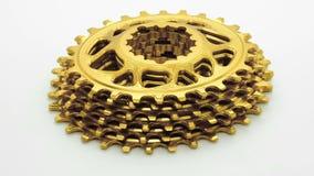 Engrenagem chainring da bicicleta oval dourada vídeos de arquivo