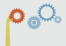 Engrenagem da posse da mão ao sucesso como o conceito ilustração stock