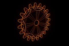 Engrenagem da roda denteada no estilo de Wireframe do holograma Rendição 3D agradável Fotos de Stock