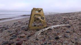 A engrenagem de bronze e a gaivota do pulso de disparo antigo emplumam-se na areia da praia do mar vídeos de arquivo