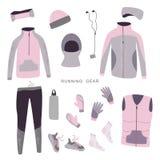 Engrenagem de corrida do inverno Ajuste da roupa e dos acessórios do inverno das mulheres para correr Ilustração do vetor fotos de stock