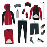 Engrenagem de corrida do inverno Ajuste da roupa e dos acessórios do inverno para correr Ilustração do vetor fotografia de stock