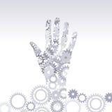 Engrenagem de engrenagem com mão Imagens de Stock Royalty Free
