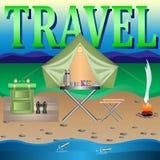 Engrenagem do curso para viajar ilustração stock
