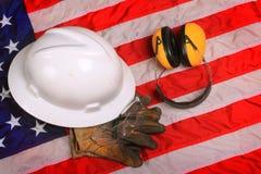Engrenagem do trabalho do trabalhador americano do colarinho azul Foto de Stock