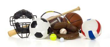Engrenagem dos esportes no branco Fotografia de Stock Royalty Free
