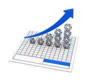 Engrenagem e gráfico azul Imagem de Stock