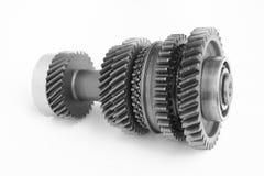 Engrenagem mecânica no BW imagens de stock