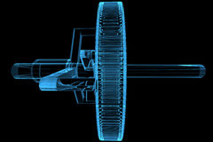 engrenagem planetária transparente do raio X 3D azul Fotos de Stock