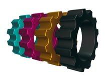 Rodas de engrenagem de Cmyk Fotografia de Stock