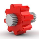 Engrenagem vermelha com branco no meio Fotografia de Stock
