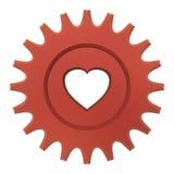 Engrenagem vermelha do coração Imagens de Stock