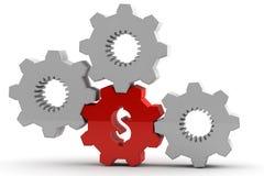 Engrenagem vermelha original com um sinal de dólar Imagem de Stock