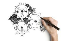 Engrenagens abstratas desenhando Imagem de Stock Royalty Free