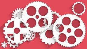 Engrenagens brancas animados no fundo vermelho ilustração royalty free