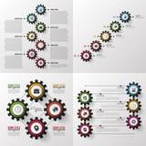 Engrenagens coloridas Jogo grande Molde infographic moderno do projeto Ilustração do vetor Fotos de Stock Royalty Free