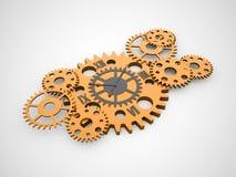 Engrenagens, conceito interno do relógio rendido ilustração do vetor