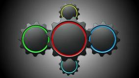 Engrenagens 3d animados no fundo cinzento ilustração royalty free