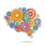 Engrenagens da cor do cérebro ilustração do vetor