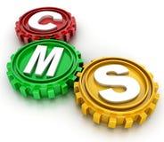 Engrenagens do CMS. conceito de sistema de gestão satisfeito Foto de Stock