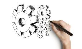 Engrenagens do desenho da mão Imagem de Stock