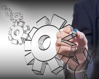 Engrenagens do desenho do homem de negócio ao sucesso Imagem de Stock Royalty Free