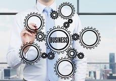 Engrenagens do desenho do homem de negócios Imagem de Stock