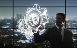 Engrenagens do desenho do homem de negócios Fotografia de Stock