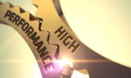 Engrenagens douradas com conceito do elevado desempenho 3d Fotos de Stock